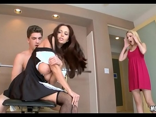 Stupendous Mamma MILF coupled with Tow-haired Nubile