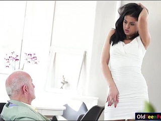 Blowjob and fuck-fest prescription for sick elderly step dad from whorey hot nurse
