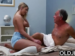 Ash-blonde Teen Fucked By Hairy Old Man she loves getting sex blowjobs and jizz